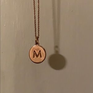 "Kate Spade ""M"" initial necklace, rose gold"